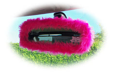 Car accessories set Fuzzy furry fluffy mirror handbrake gaiter gearknob covers choice of colour color pink red blue black orange purple - Poppys Crafts  - 4