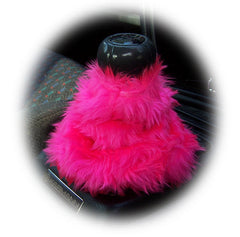 Car accessories set Fuzzy furry fluffy mirror handbrake gaiter gearknob covers choice of colour color pink red blue black orange purple - Poppys Crafts  - 5
