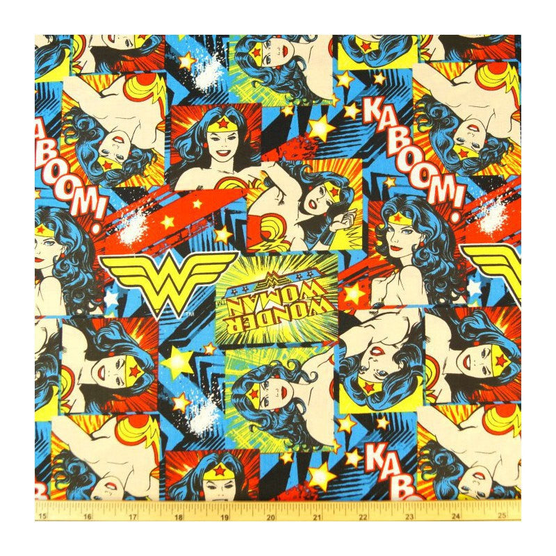 steering wheel cover Wonder woman comic book fabric print wrap geek car truck suv jeep van retro wonderwoman hero nerd justice league cotton - Poppys Crafts  - 1