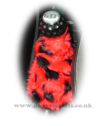 Red And Black Ladybird spot faux fur fluffy gear stick gaiter cover