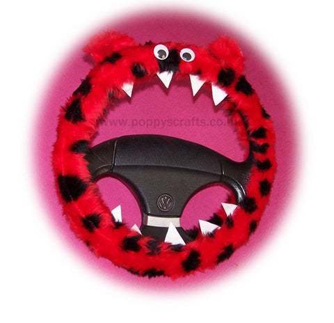 Fuzzy faux fur ladybird red and black spotty monster steering wheel cover fluffy furry car fun