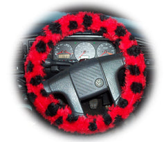 Ladybird Spot fuzzy Car Steering wheel cover & matching faux fur seatbelt pad set - Poppys Crafts