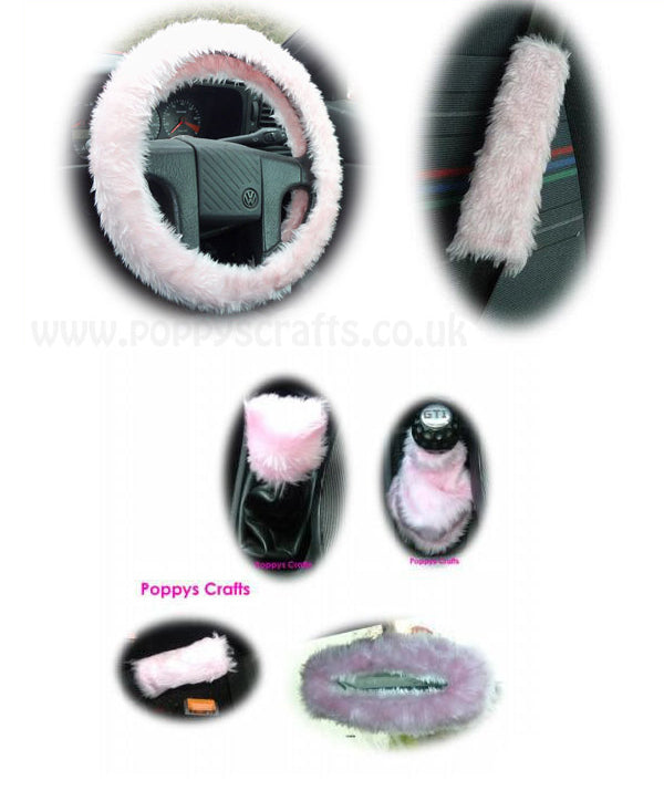Large 7 Piece Baby Pink fluffy car accessories set faux fur
