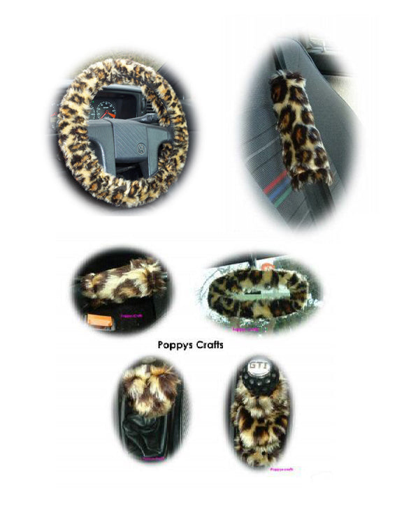 Large 7 Piece leopard print fluffy car accessories set faux fur - Poppys Crafts