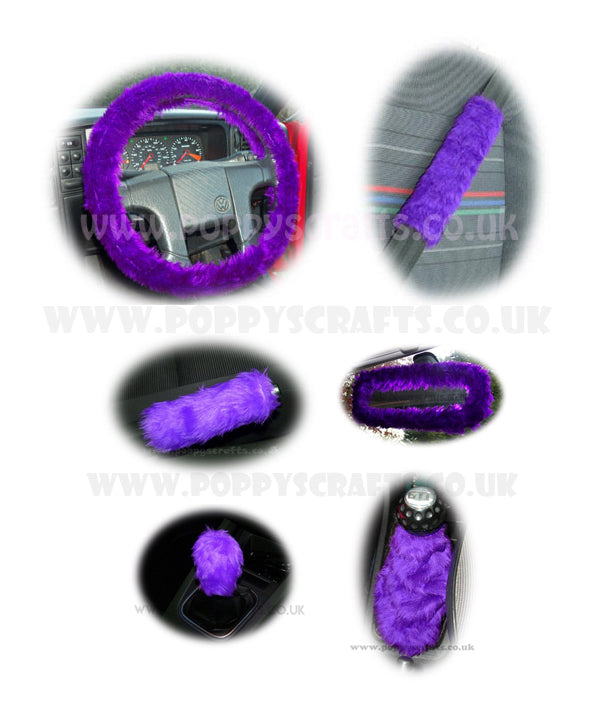 Large 7 Piece Purple fluffy car accessories set faux fur - Poppys Crafts