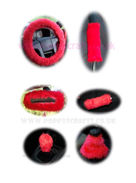 Large 7 Piece Racing Red fluffy car accessories set faux fur