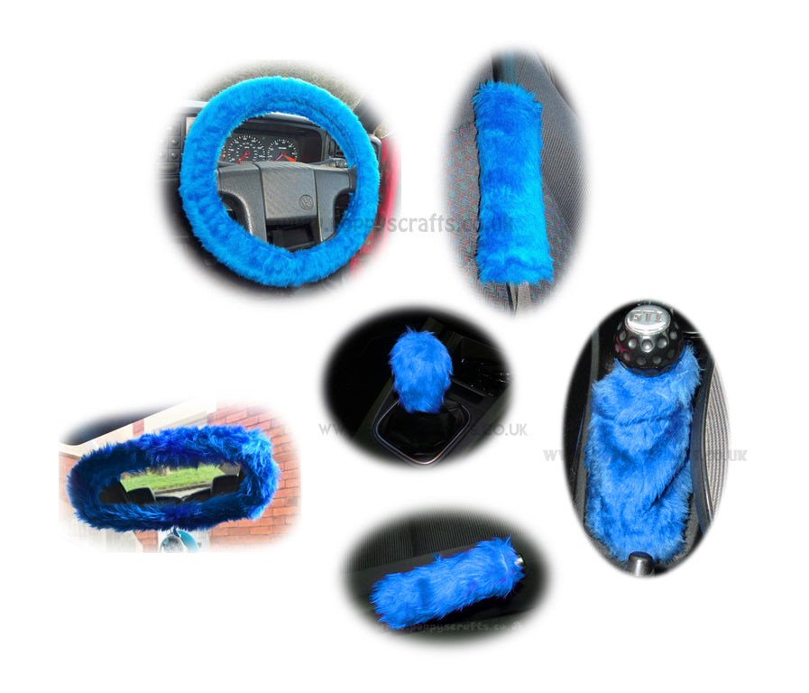 Large 7 Piece Royal Blue fluffy car accessories set faux fur - Poppys Crafts