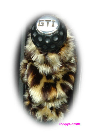 Leopard print faux fur fluffy gear stick gaiter cover