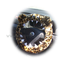 Leopard Print fuzzy Monster steering wheel cover with cute matching rear view mirror cover - Poppys Crafts