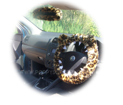 Leopard Print fuzzy Monster steering wheel cover with cute matching rear view mirror cover