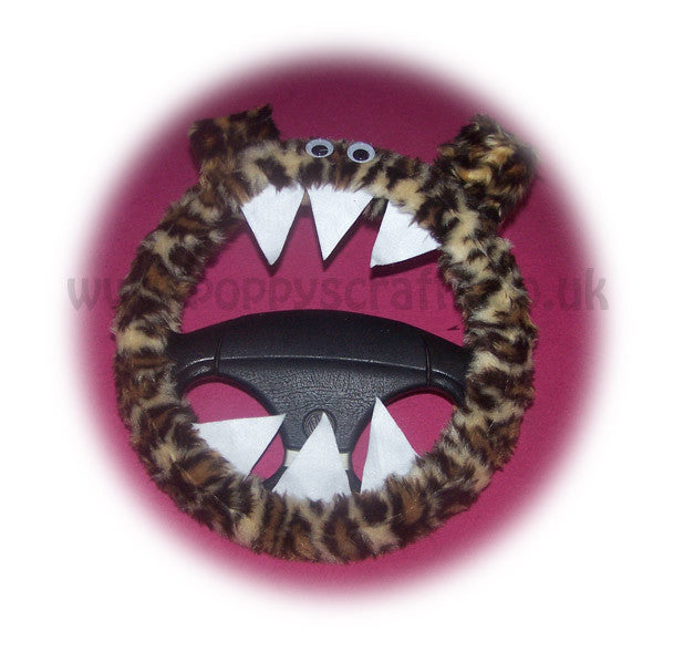 Fuzzy Leopard print faux fur monster steering wheel cover fluffy furry car fun Wild Thing - Poppys Crafts