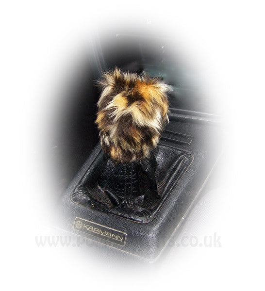 Fuzzy faux fur Leopard print Gearknob cover cute - Poppys Crafts