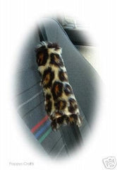 1 pair of faux fur fuzzy print seatbelt pads choose your print from a choice of leopard print zebra tiger cheetah cow bee - Poppys Crafts  - 9