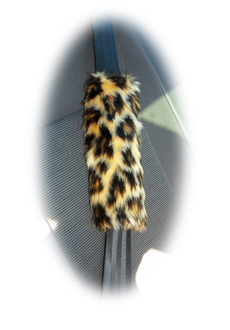 Leopard print faux fur car seatbelt pads 1 pair