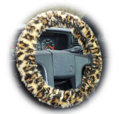 Wild Leopard print fuzzy Car Steering wheel cover & matching animal print faux fur seatbelt pad set - Poppys Crafts  - 2