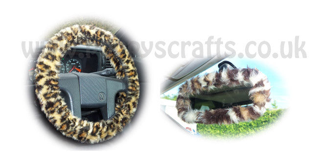 Leopard Print fuzzy steering wheel cover with cute matching rearview interior mirror cover - Poppys Crafts