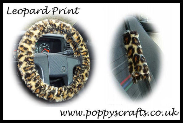 Wild Leopard print fuzzy Car Steering wheel cover & matching animal print faux fur seatbelt pad set - Poppys Crafts  - 1