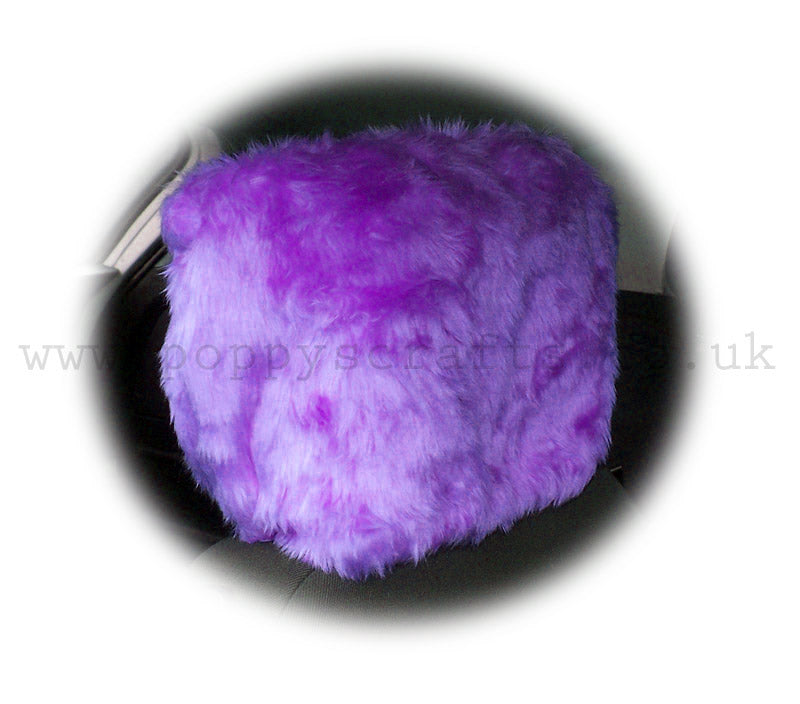 Gorgeous Lilac fluffy faux fur car headrest covers 1 pair - Poppys Crafts