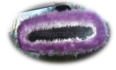 Pretty faux fur Lilac rear view interior car mirror cover fluffy and fuzzy - Poppys Crafts