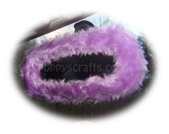 Pretty faux fur Lilac rear view interior car mirror cover fluffy and fuzzy - Poppys Crafts  - 2