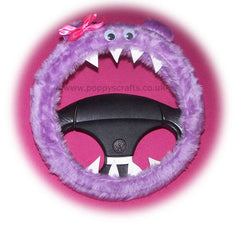 Fuzzy Faux Fur Lilac Monster Steering Wheel Cover With Cute Pink Bow Googly Eyes Teeth And Ears. Fluffy Furry Car Fun
