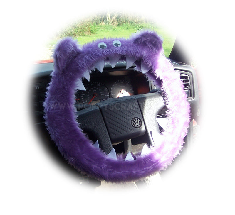 Lilac Fuzzy furry Monster car steering wheel cover faux fur fluffy with googly eyes, teeth and ears - Poppys Crafts
