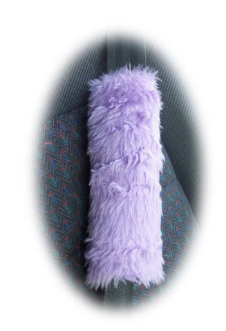 Fuzzy Lilac faux fur shoulder pad for guitar strap, bag strap, seatbelt