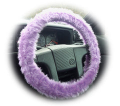 Lilac fuzzy steering wheel cover with cute matching rearview mirror cover - Poppys Crafts