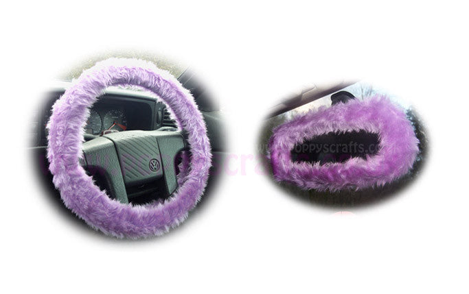 Lilac Fuzzy Steering Wheel Cover With Cute Matching Rearview Mirror Cover