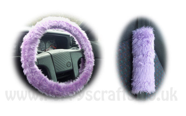 Gorgeous Lilac Car Steering wheel cover & matching fuzzy faux fur seatbelt pad set - Poppys Crafts