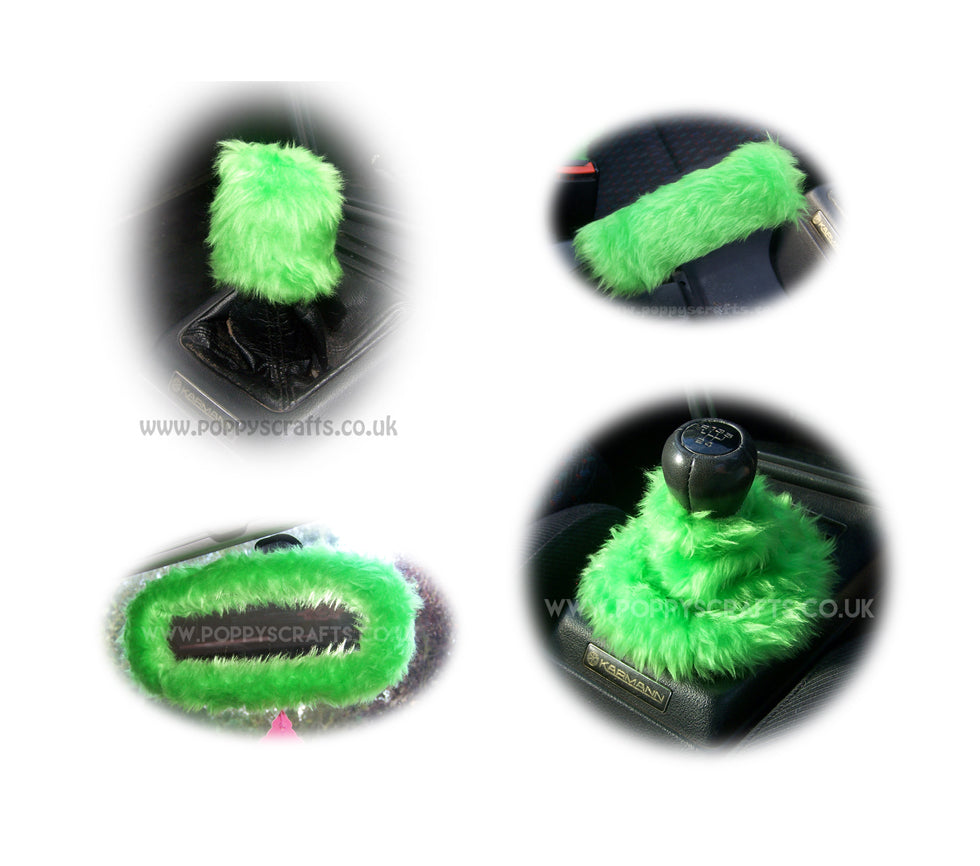 Funky Lime Green fluffy faux fur car accessories 4 piece set - Poppys Crafts
