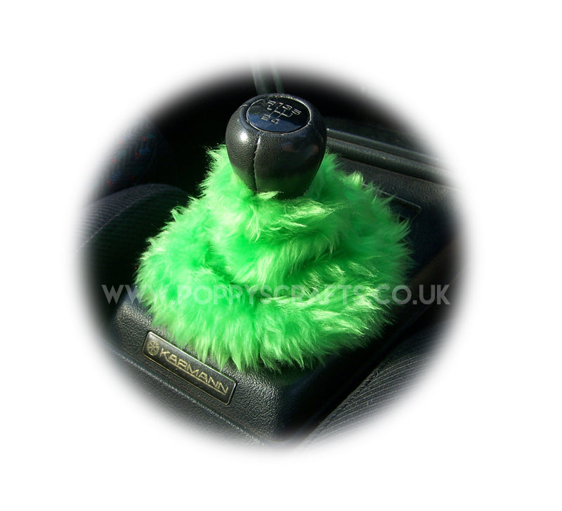 Lime Green fuzzy faux fur gear stick gaiter cover - Poppys Crafts