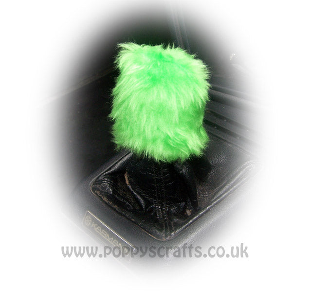 Fuzzy faux fur funky Lime Green Gearknob cover - Poppys Crafts