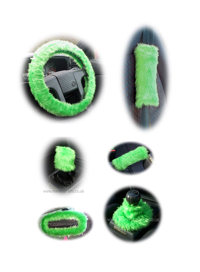 Large 7 Piece Lime Green fluffy car accessories set faux fur - Poppys Crafts
