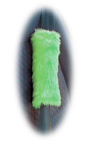 Fuzzy faux fur Lime Green car seatbelt pads furry and fluffy 1 pair