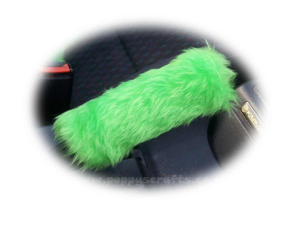 Fuzzy faux fur Lime Green Handbrake cover cute - Poppys Crafts