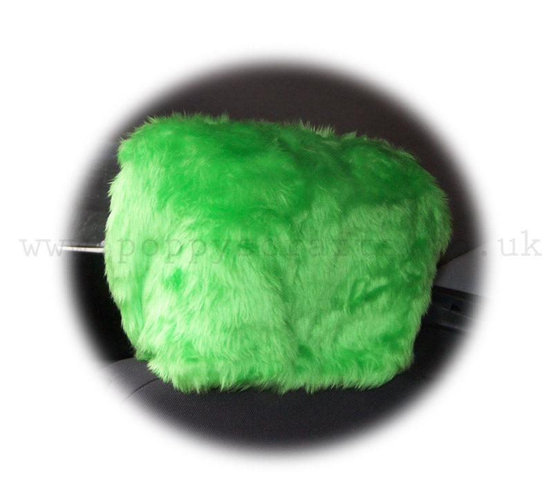 1619f45632547 Funky Lime Green fluffy faux fur car seat headrest covers 1 pair – Poppys  Crafts