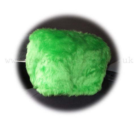 Funky Lime Green fluffy faux fur car headrest covers 1 pair