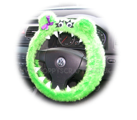 Fuzzy Lime Green Monster car steering wheel cover 'Lola' faux fur fluffy furry fun Steering wheel buddy