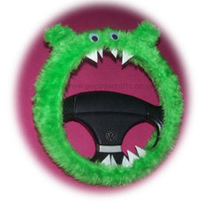 Lime Green fuzzy Monster car steering wheel cover - Poppys Crafts  - 2