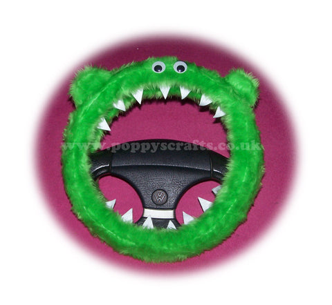 Lime Green fuzzy Monster car steering wheel cover