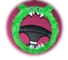 Lime Green fuzzy Monster car steering wheel cover - Poppys Crafts
