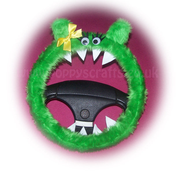 Fuzzy Lime Green Monster car steering wheel cover 'Lola' faux fur fluffy furry fun Steering wheel buddy - Poppys Crafts