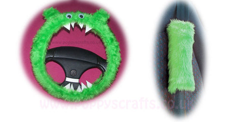 Fluffy Lime Green Monster Car Steering wheel cover & fuzzy faux fur Lime Green seatbelt pad set