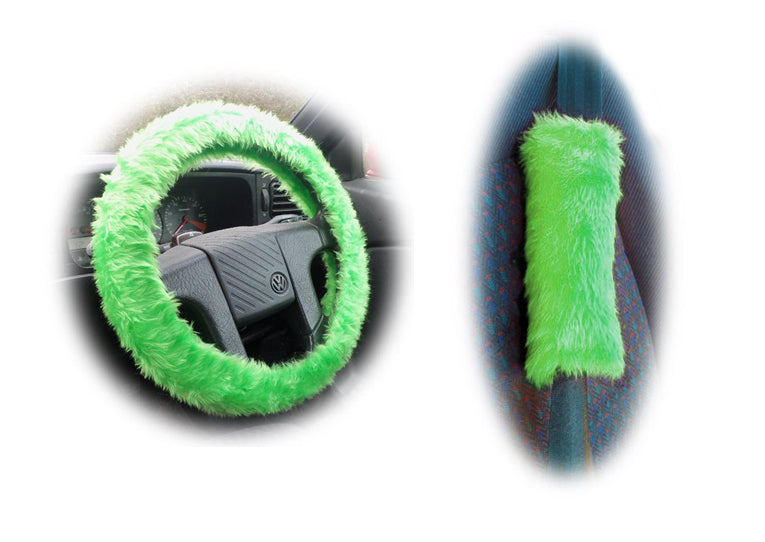 Lime Green Car Steering wheel cover & matching fuzzy faux fur seatbelt pad set