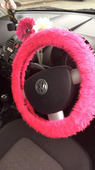 Barbie Pink fuzzy faux fur car steering wheel cover on volkswagen steering wheel and pink flower