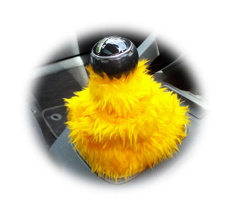 Marigold Yellow fuzzy faux fur gear stick gaiter cover