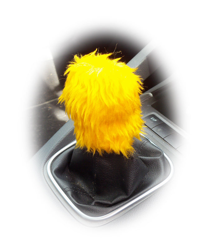 Marigold yellow fuzzy faux fur gear knob cover - Poppys Crafts