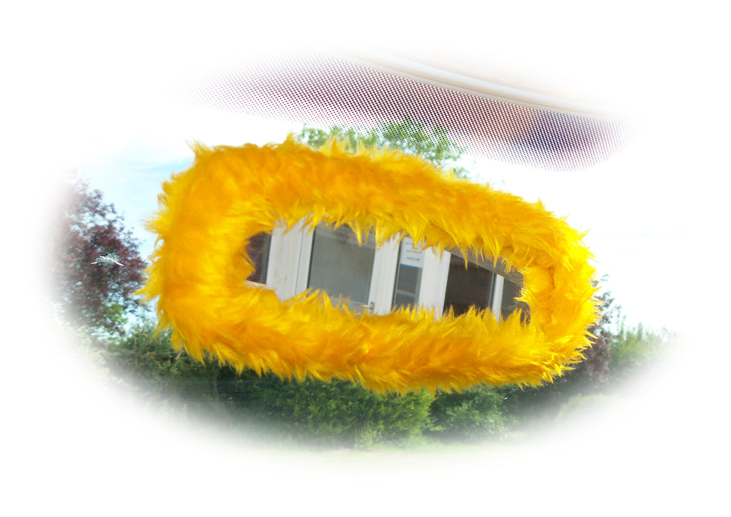 Marigold Yellow faux fur rear view interior car mirror cover
