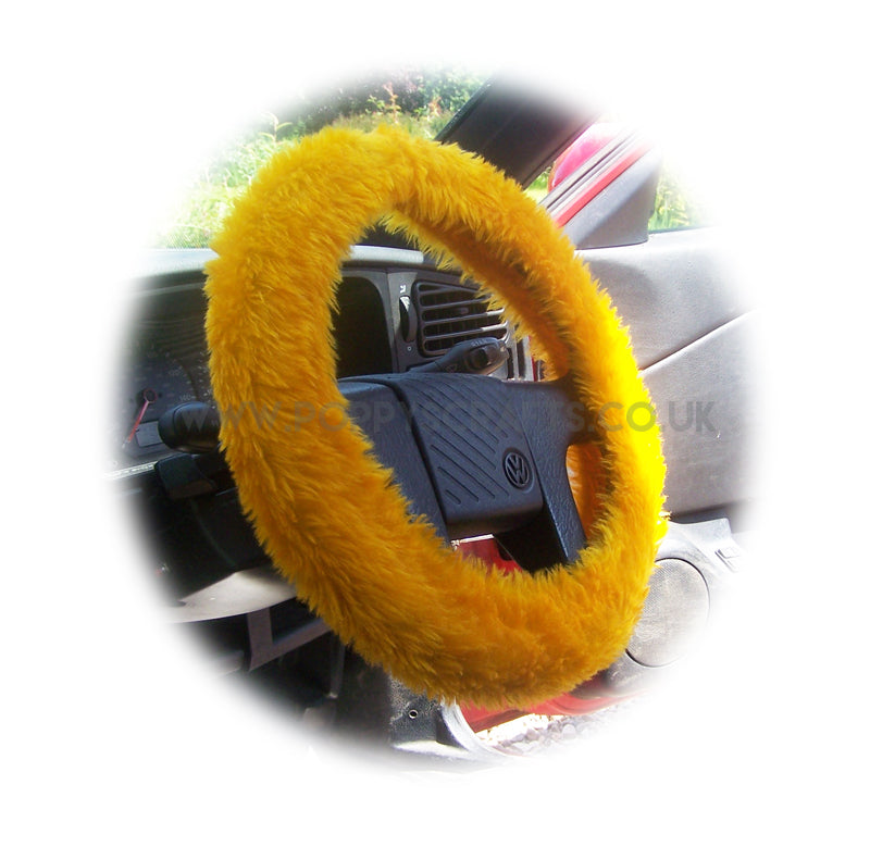 Marigold Orange fuzzy faux fur car Steering wheel cover - Poppys Crafts